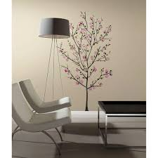roommates 2 5 in x 27 in pink blossom tree peel and stick giant pink blossom tree peel and stick giant wall decals rmk2460slm the home depot