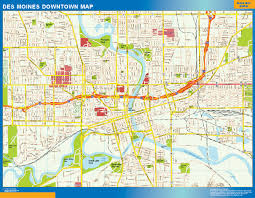 Wall Map Of Usa by Des Moines Downtown Map Netmaps Usa Wall Maps Shop Online