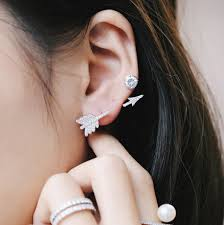 creative earrings silver color creative zircon cupid arrow ear cuff clip earrings