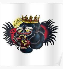 gorilla tattoo design u0026 illustration posters redbubble