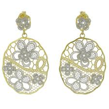 gold plated earrings murano earrings italian floral lace sterling silver gold plated