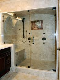 door and panel steam shower in rubbed bronze using cls as