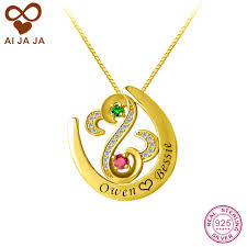 Customized Heart Necklace Online Get Cheap Sterling Silver Engraved Necklace Aliexpress Com