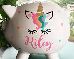 customized piggy bank baby unicorn piggy bank etsy