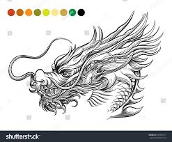dragon coloring page template swatches colors stock vector