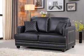 Silver Leather Sofa by Meridian Furniture 655bl S Ferrara Black Leather Sofa Silver