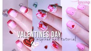 diy cute u0026 easy nail art for beginners 24 valentines day pink