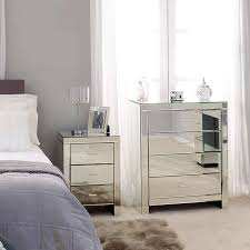 Mirrored Furniture For Bedroom Mirrored Furniture For Less White Tufted High Headboard Line Shape