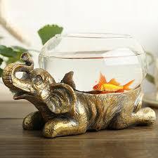 Fish Bowl Decorations Unique Resin Elephant Design Base Glass Flower Pot Fish Bowl