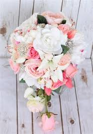 cascading bouquet touch pink roses peonies cascading bouquet