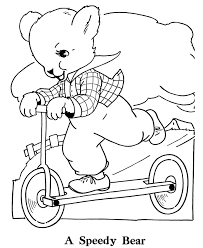 bluebonkers teddy bear coloring page sheets push scooter