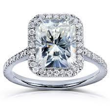 overstock engagement rings annello by kobelli 14k white gold 3ct tgw radiant moissanite hi