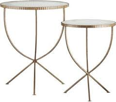 Glass Accent Table Rippled Gold Tripod Table Set