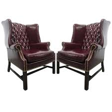 pair of vintage leather tufted wingback chairs for sale at 1stdibs