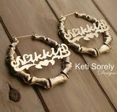 name hoop earrings large bamboo earrings with your name large hoop earrings with