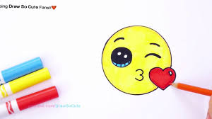 how to draw color kissing emoji step by step super easy cute