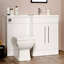 Bathroom Combined Vanity Units by Maze L Shaped Furniture Gloss White Combo Vanity And W C Unit
