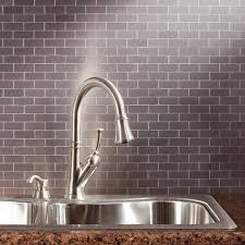 kitchen backsplash steel tile stainless behind stove metal