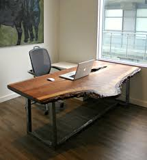 live edge computer desk make your office more eco friendly with a reclaimed wood desk