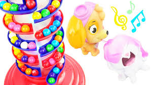 paw patrol feeding bad baby skye rainbow gumballs learning colors