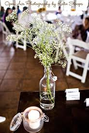 Baby S Breath Centerpiece Carnations And Baby U0027s Breath Tied Bow Inspiration