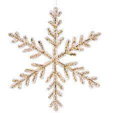 vickerman 12 clear icy gold glitter snowflake
