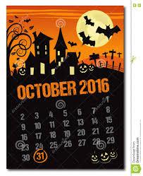 countdown to halloween calendar halloween october 2016 orange calendar stock vector image 73611072