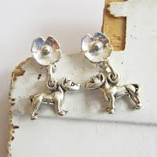 poppy earrings pit bull poppy sterling silver earrings dog park publishing
