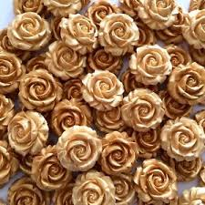 gold roses 12 gold roses edible sugar paste flowers cup cake decorations