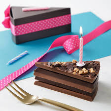 birthday chocolate cake slice complete candle quirky gift