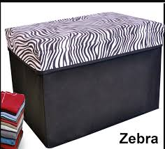 Animal Print Storage Ottoman Collapsible Storage Ottoman Rectangle Shape Zebra