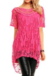 Plus Size Lagenlook Clothing Ladies Crochet Lace Lagen Look Italian Top Vest Short Blouse Set