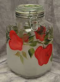 hand painted red apples kitchen canister by thewishingwellstudio