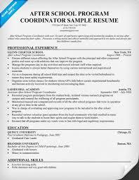 Kids Resume Sample by After Program Coordinator Resume Resumecompanion Com