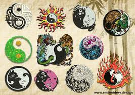 various yin yang embroidery designs pack collection of 12