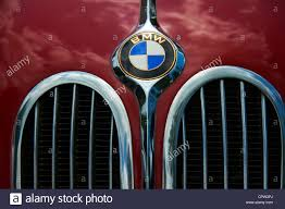 bmw logo veteran classic car close up detail bmw logo stock photo