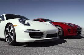 jaguar f type vs porsche 911 jaguar f type coupe r porsche 911 50th go 2 motor trend