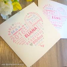 shape word baby personalised card
