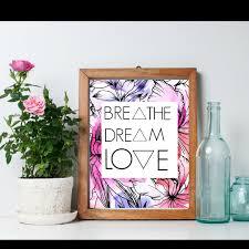 breathe dream love 8x10 geometric wall art word art home decor