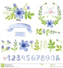 watercolor blue daisy floral decor set with numbers stock vector