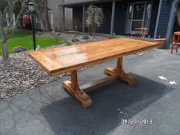 Outdoor Furniture Woodworking Plans Free by Ana White Pedestal Trestle Dining Table Diy Projects