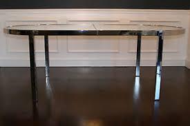 milo baughman dining table vtg mid century hollywood regency milo baughman chrome racetrack