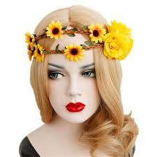 hair wreath sunflower crown big sunflower headband sunflower halo