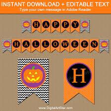 printable halloween banners with editable text digital art star