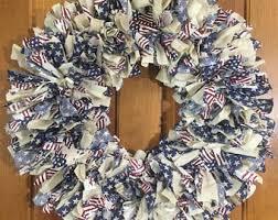rag wreath etsy
