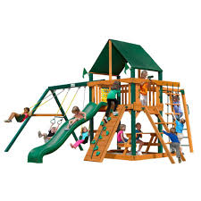 Wooden Swing Set Canopy by Gorilla Playsets Navigator With Timber Shield And Sunbrella Canvas