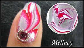 water marble nail art tutorial enchanted forest red flower