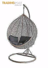 outdoor egg chair swing pod hanging stand berwick wicker rattan