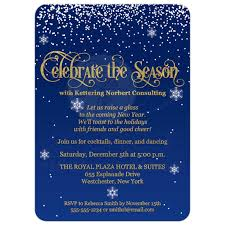 celebrate the season corporate party invite navy gold faux