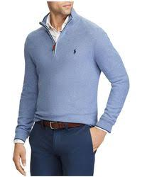 polo ralph lauren cotton half zip sweater in purple for men lyst